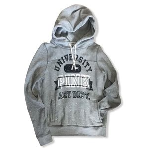 Pink VS Gray University Pull Over Hoodie Size S